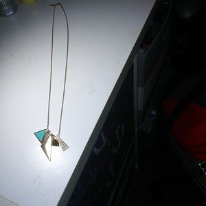 American eagle gold, teal & rhinestone necklace
